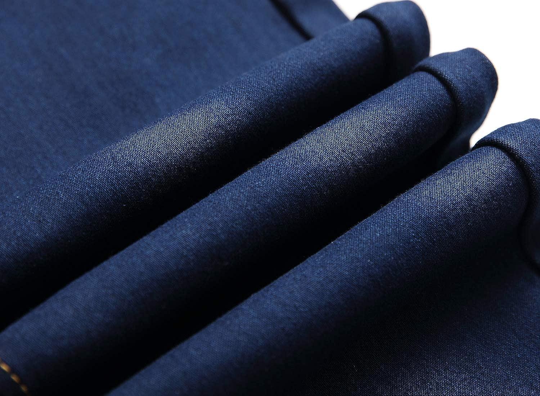 Lingswallow Mens Fleece Lined Jeans Slim fit Stretch Thicken Winter Warm Jeans