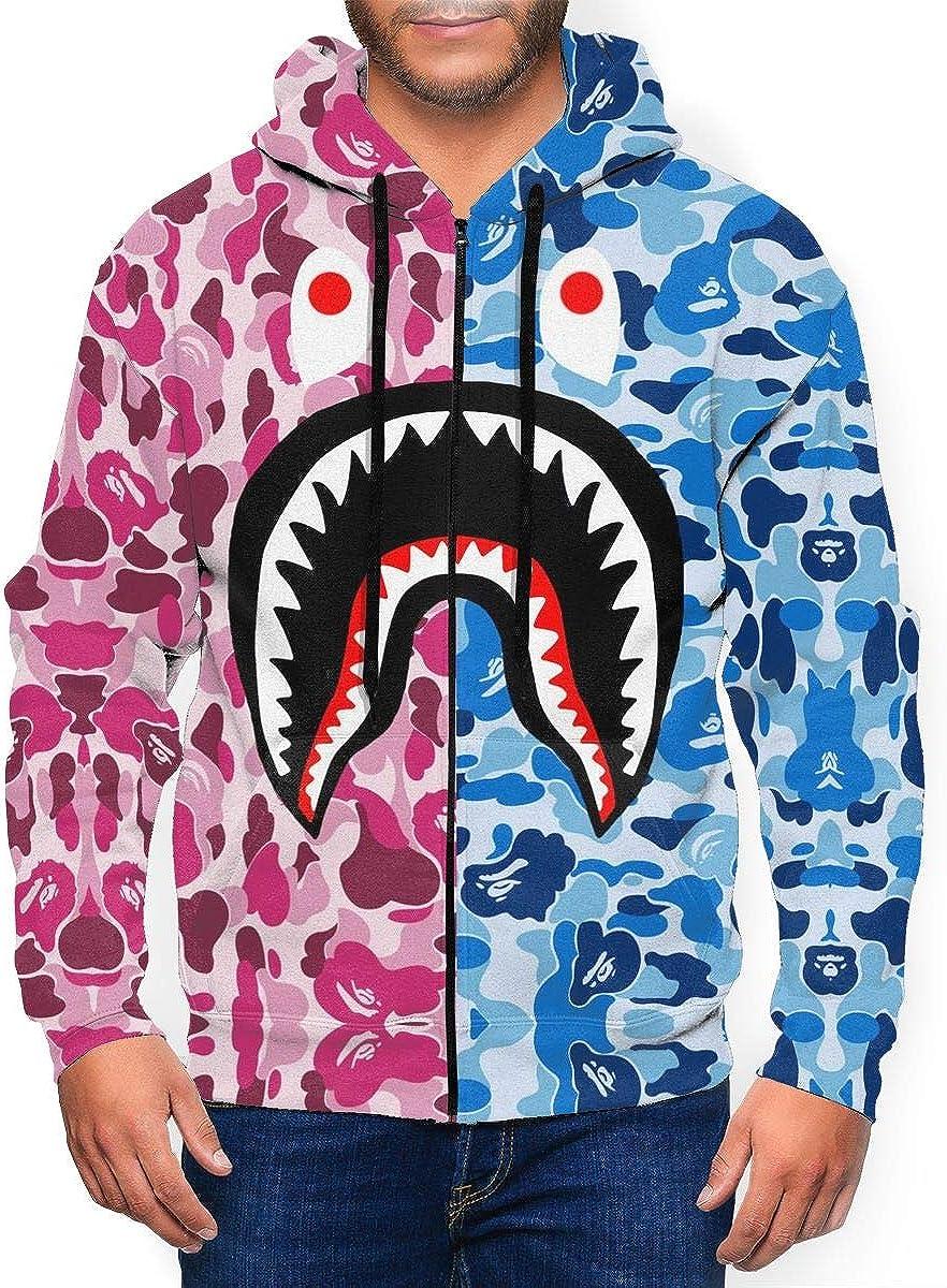 Gray Pink Bape Blood Shark Men's 3D Sportswear Hoodie Full Zip Hooded Sweatshirt Jacket