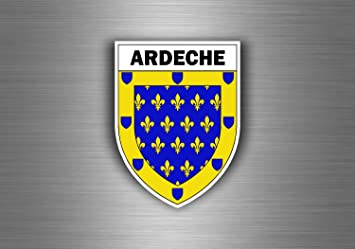 Akachafactory Aufkleber Sticker Auto Motorrad Wappen Stadt Ardeche Region Armoirie Flagge Auto