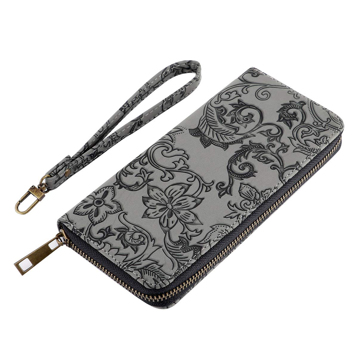 Black Window Grille HAWEE Womens Clutch Wallet Canvas Zippered Purse with Wristlet