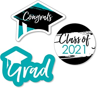 product image for Big Dot of Happiness Teal Grad - Best is Yet to Come - DIY Shaped Turquoise 2021 Graduation Party Cut-Outs - 24 Count