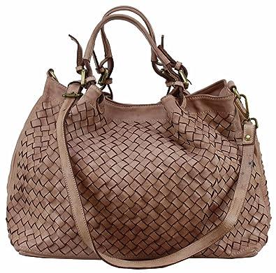 9fd2c9dd5c28d B Z N A Bag Rene rose alt rosa Italy Designer Damen Handtasche  Schultertasche Tasche Schafsleder Shopper Neu