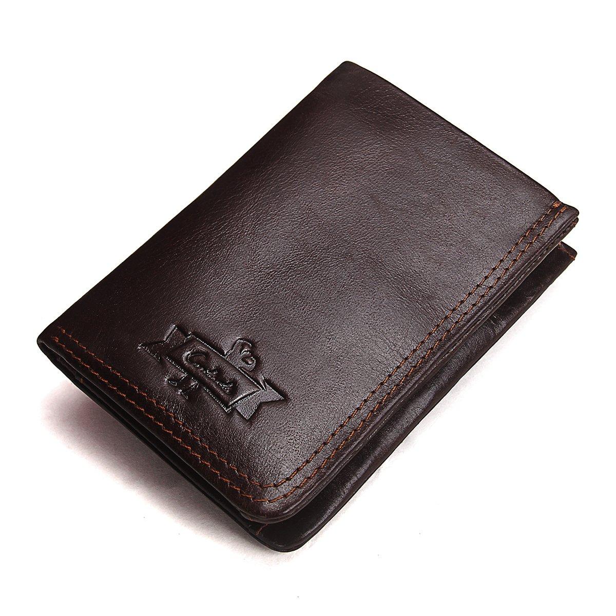 Contacts Rétro en cuir véritable vachette carte porte-monnaie porte-monnaie court portefeuille (Foncé Café)