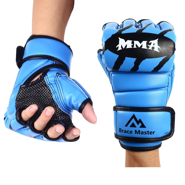Brace Master Gants MMA Gants UFC Cuir Plus de Rembourrage pour Hommes Femmes Protection du Poignet Muay Tha/ï Arts Martiaux Mixtes Gants dentra/înement sans Doigts pour la Formation Kick-Boxing