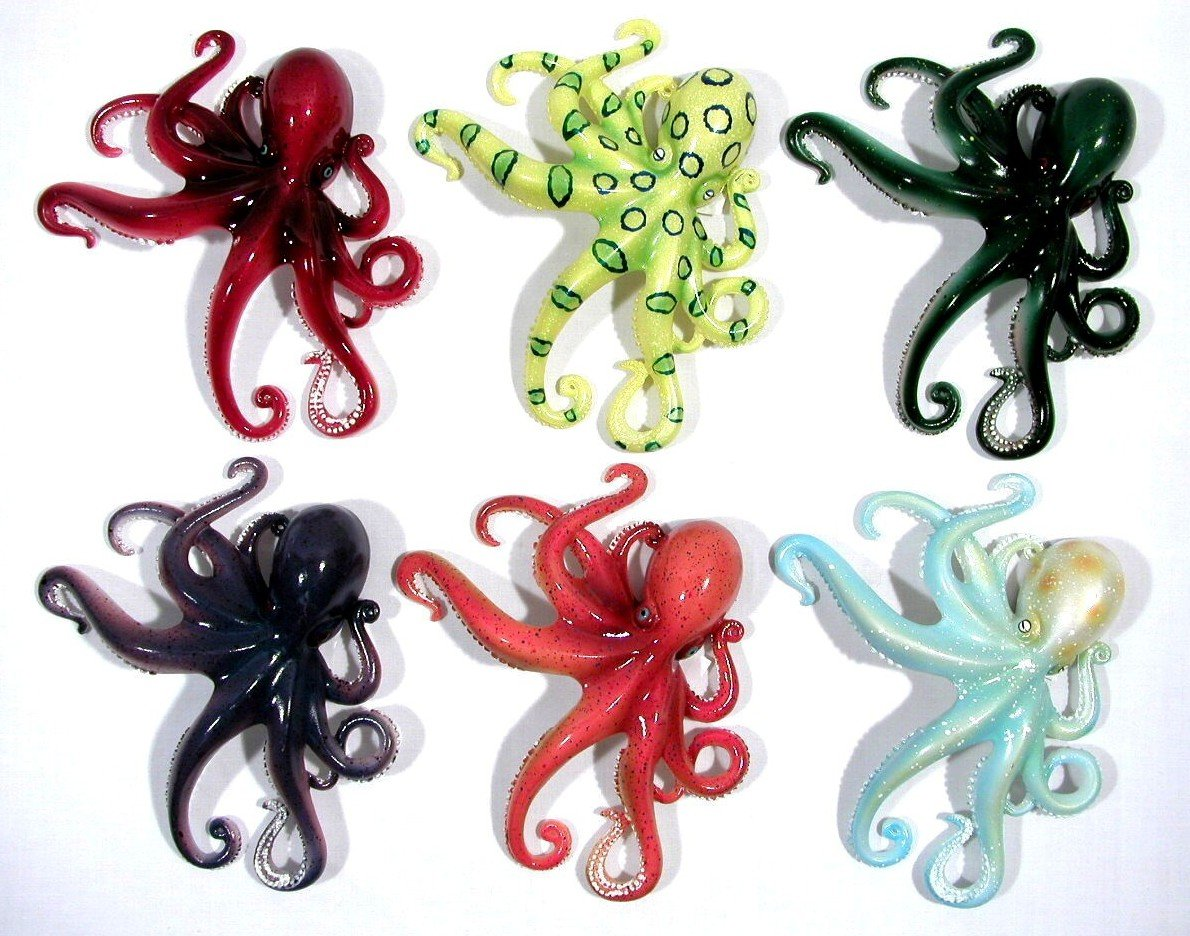 Wholesale Pack Handpainted Octopus Assorted Magnet Set of 12