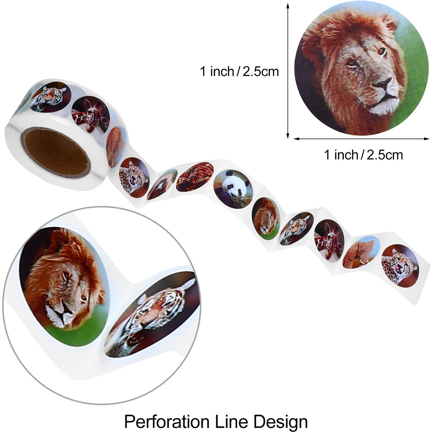 Outus 1000 Pieces Zoo Animal Stickers Self-Adhesive Animal Sticker Roll Animal Pattern Label Sticker for Kids Awards Party Supplies Craft Decoration