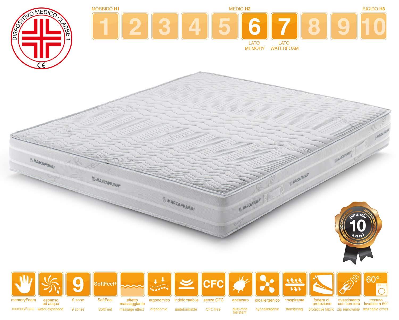 Marcapiuma - Colchón viscoelástico Matrimonio Memory 180x190 Alto 25 cm - Sunshine - firmeza H2 Medio 9 Zonas - Producto Sanitario CE - Funda desenfundable ...