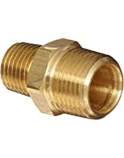 "Anderson Metals Brass Pipe Fitting, Reducing Hex Nipple, 1/2"" Male Pipe x 3/8"" Male Pipe"