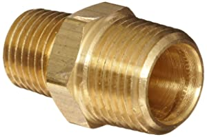 """Anderson Metals Brass Pipe Fitting, Reducing Hex Nipple, 1/2"""" Male Pipe x 3/8"""" Male Pipe"""