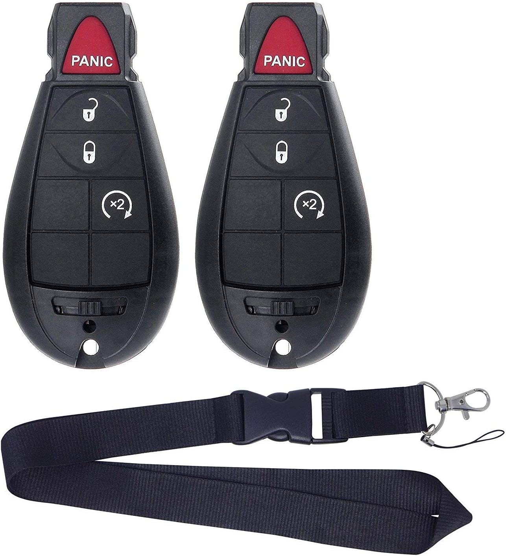JalopyTrade Pair New Remote for 2009-2012 Dodge RAM 1500 2500 3500 Pickup Remote Start KEYLESS Remote Key FOB FOBIK + ONE Free Lanyard (2-DO-BL-LY)