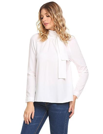 e93937566 Zeagoo Women's Halter Neck Tops Wedding Shirt Casual Long Sleeve Tie Front  Blouse Pure White S