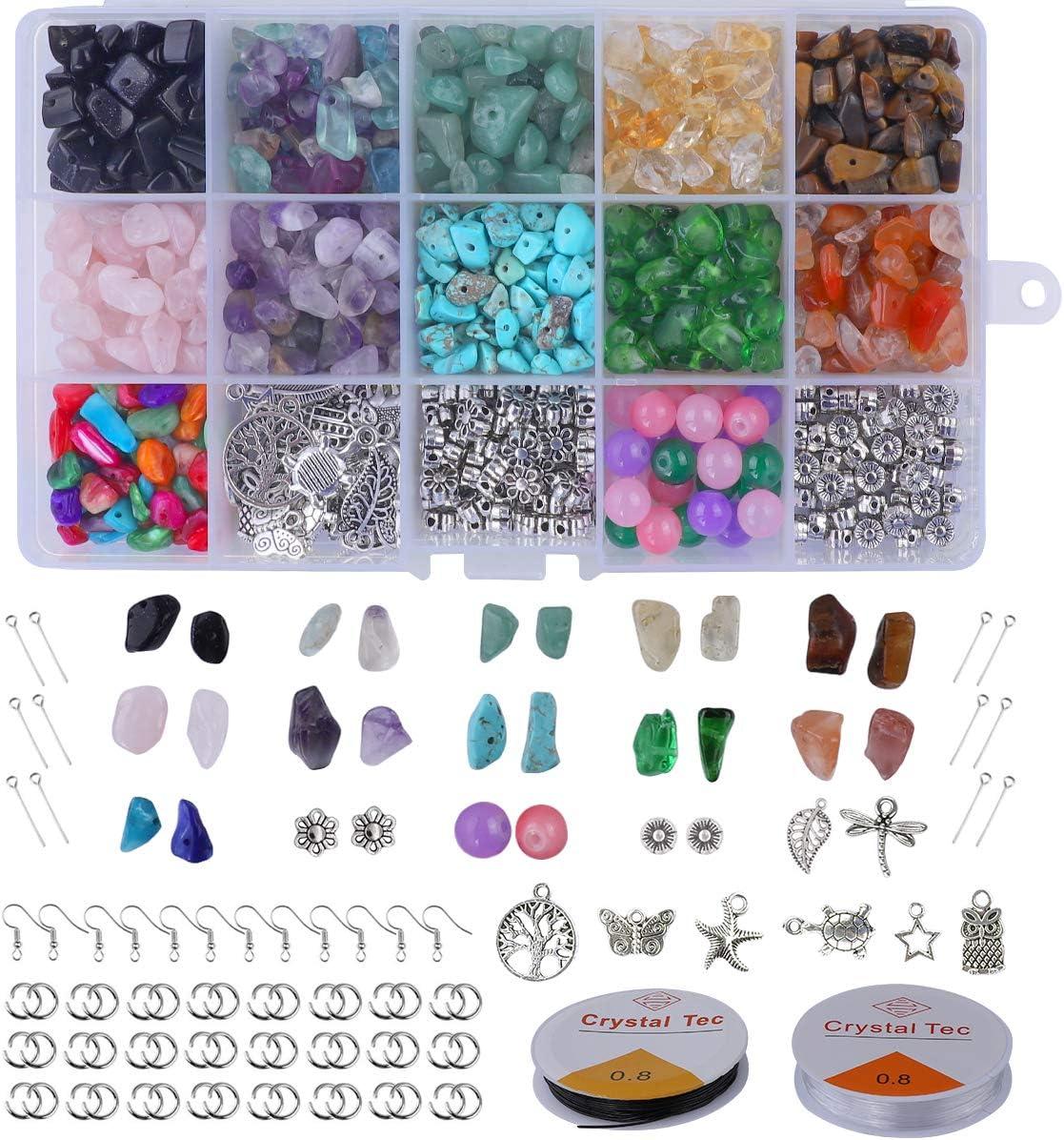 Xiangmall 1017 Piezas Cuentas Piedra Natural Irregulares Piedras Colores Cristal con Gancho Pendientes Anillo Salto Línea Utiliza Para Bricolaje Collares Pulseras HacerJoyería Accesorios (1017 pcs)