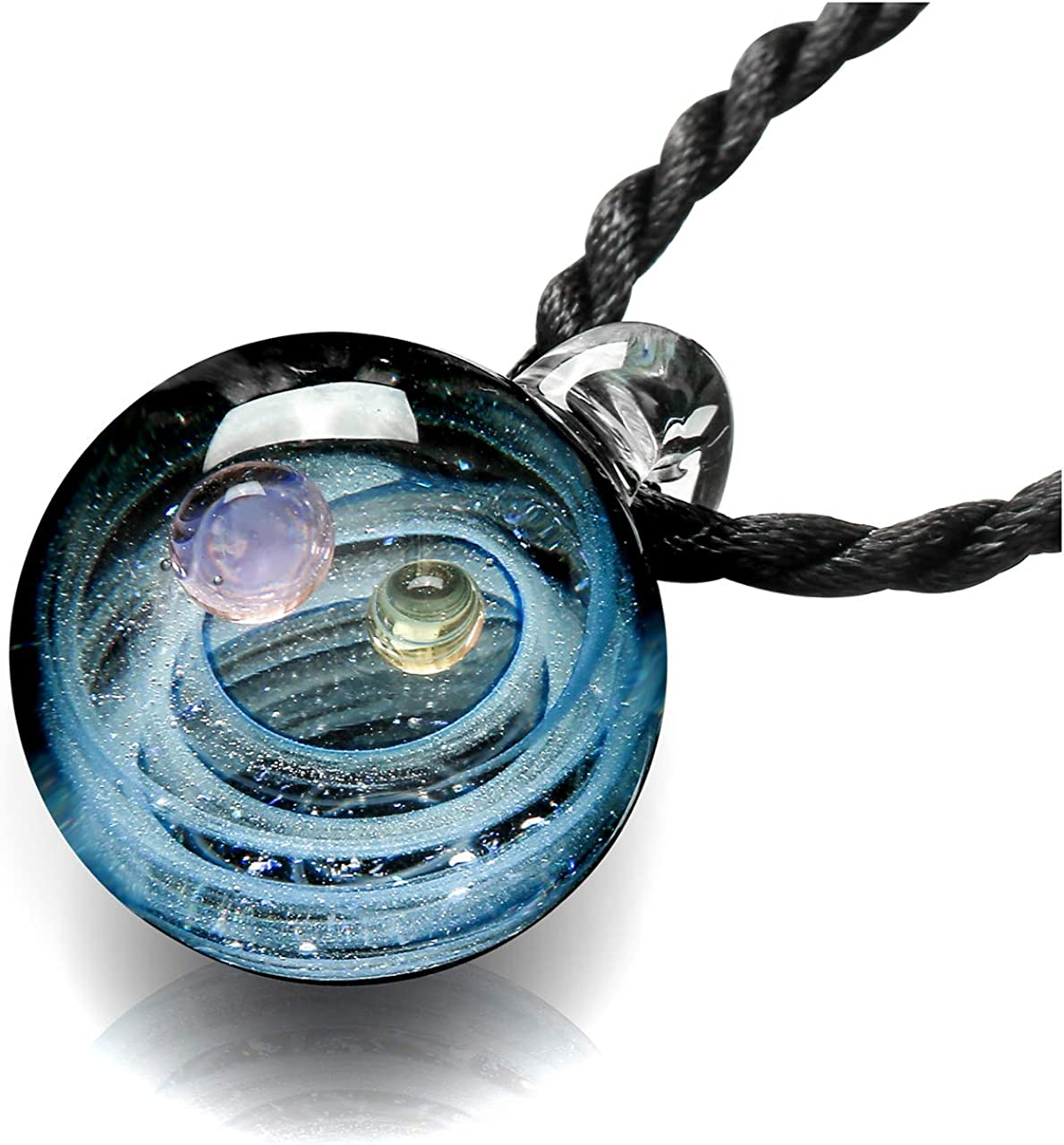 Jovivi joyería Collar de Mujer con Colgante nebuloso Galaxia Pianeta Universo de Vidrio, Dos Tipos de Cadena, Color Bello, Amigo niña Novia
