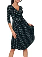 Casual Maternity V-Neck Ruched Waist Polka Dot Women's Cocktail Dress