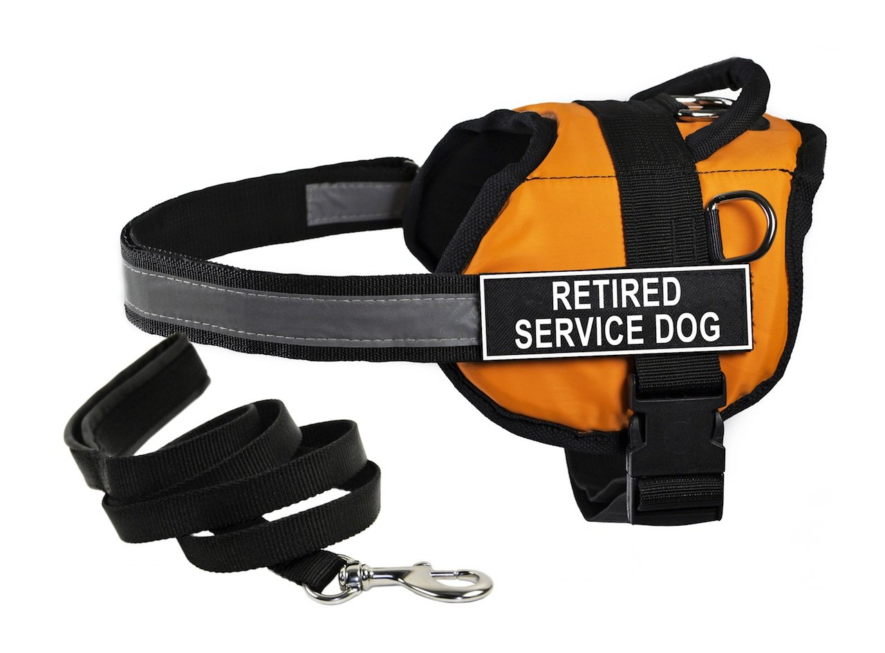 Dean & Tyler's DT Works orange Retired Service Dog  Harness, XX-Small, with 6 ft Padded Puppy Leash.