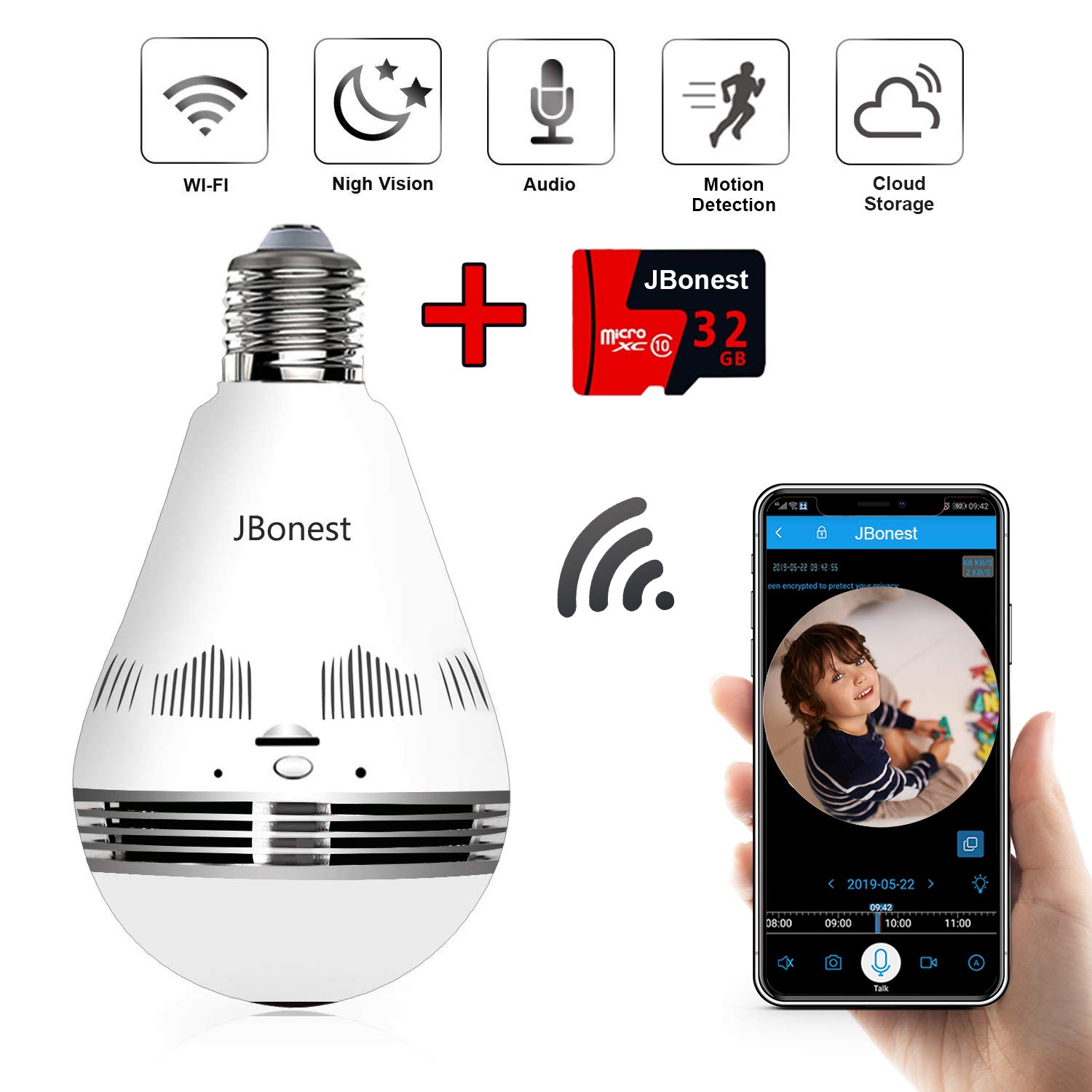 JBonest Panoramic Light Bulb Camera, 1080P IP Security WiFi Camera with 32GB SD Card, Night Vision, Real Time Audio and Motion Detection for Home Baby Pet