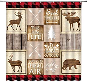 Deer Plaid Shower Curtain Retro Rustic Lodge Bear Rustic Moose Deer on Rustic Wooden Plaid Farmhouse Country Woodland Kids Christmas Home Decor Bathroom Curtain Set Fabric 70x70 Inch with Hooks