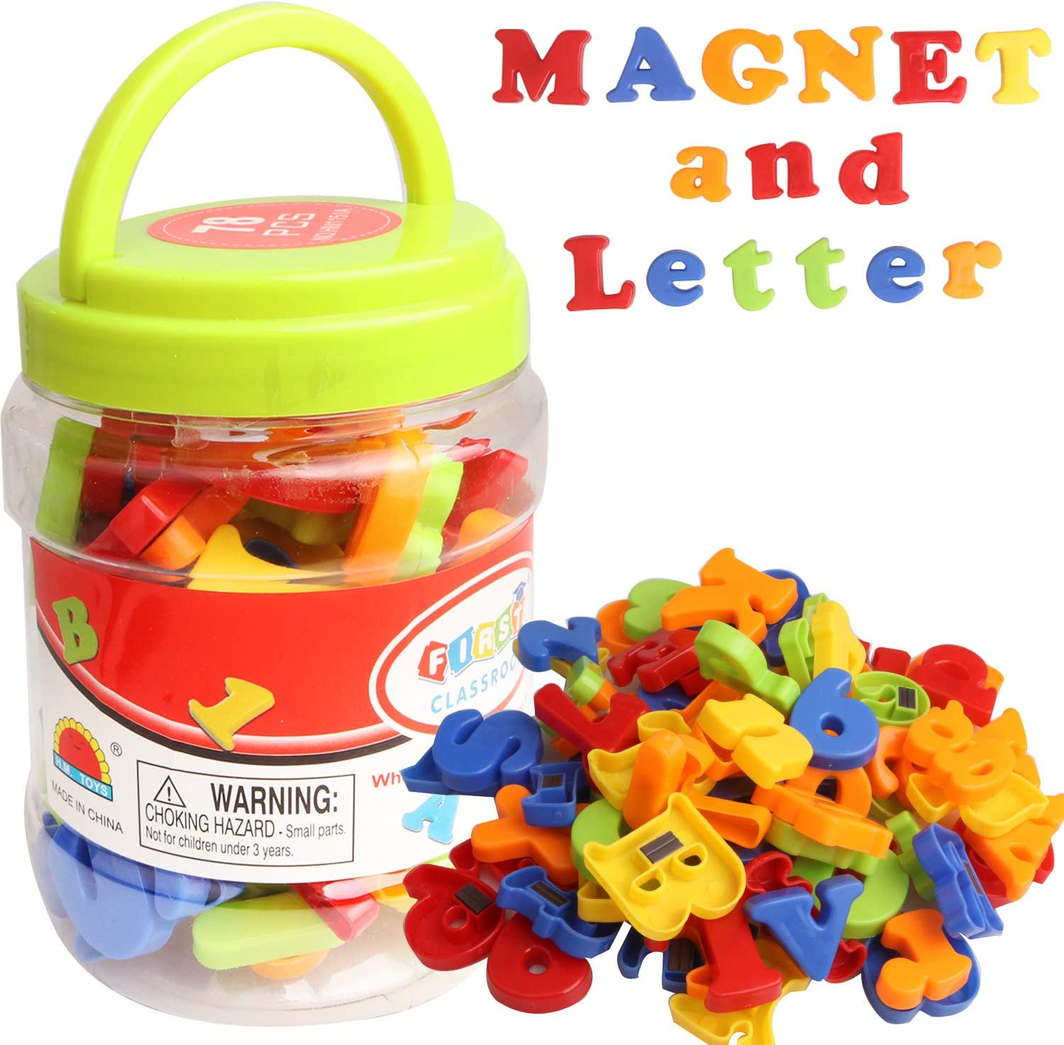 78 Pcs Colorful Plastic Fridge Magnets ABC Alphabet 123 Educational Toy Set Preschool Learning Spelling Counting Uppercase Lowercase Math Symbols for Toddler Kids Magnetic Letters and Numbers Toys
