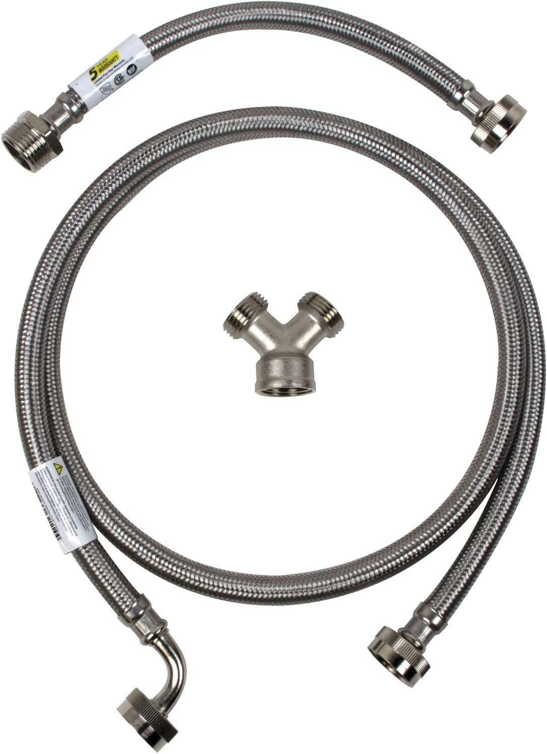 Certified Appliance Accessories Steam Dryer Installation Kit [Steam Dryer Hose with 90 Degree Elbow, Y Connector and Inlet Adapter Hose], 6 Feet