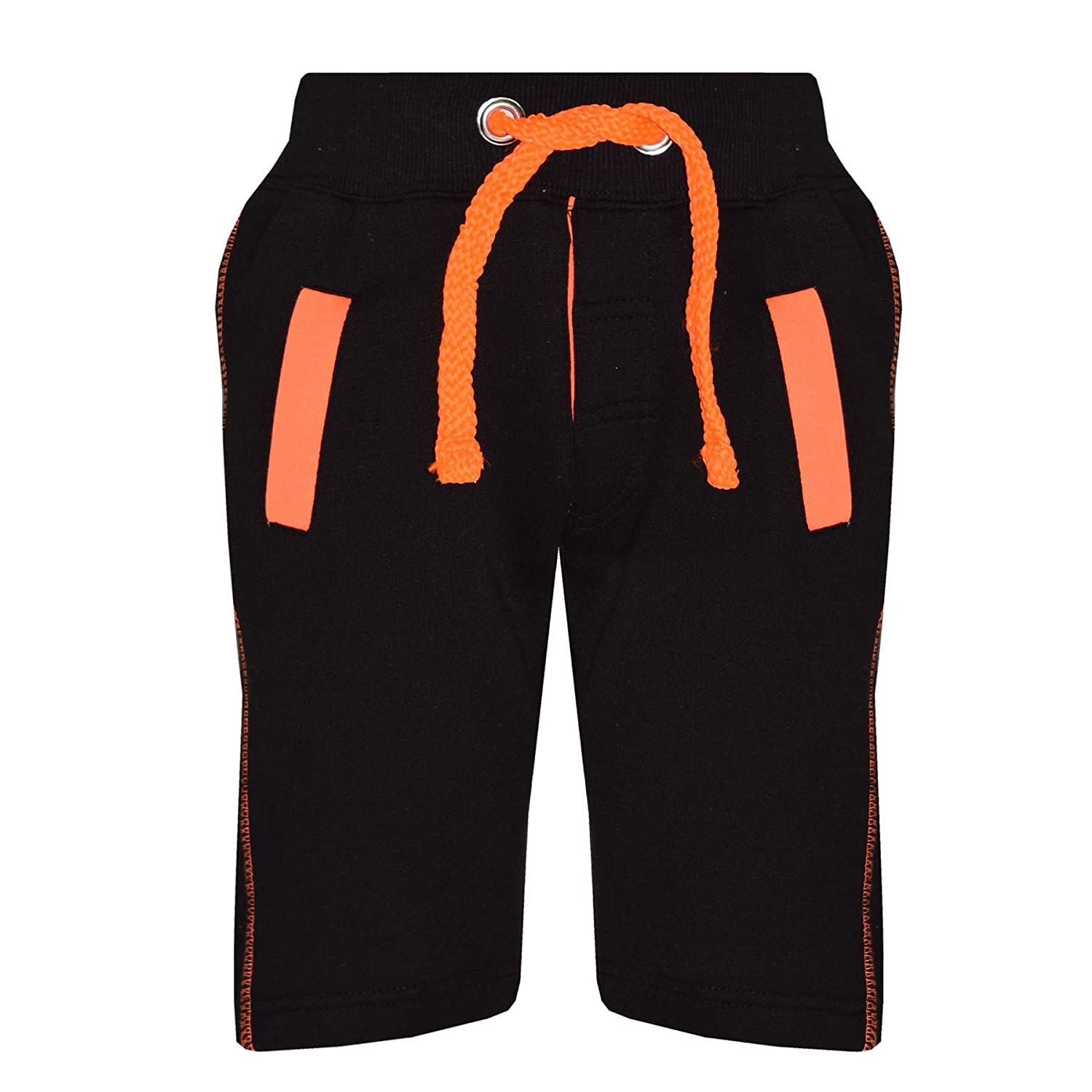 A2Z 4 Kids® Kids Shorts Girls Boys Fleece Chino Shorts - Contrast Trim Black & Neon Orange - 13 Years