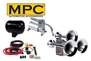 Tren Air Horn Kit; Tres Trompetas de tamaño extragrande, 12 V w/150 PSI compresor y tanque: Amazon.es: Coche y moto