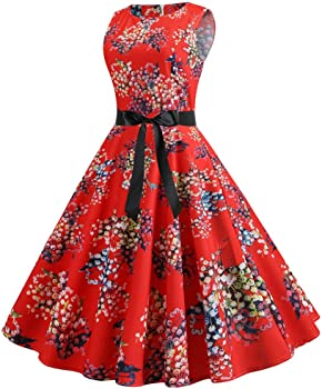 Amazon.com: Vestido de cóctel para mujer, estilo retro de ...