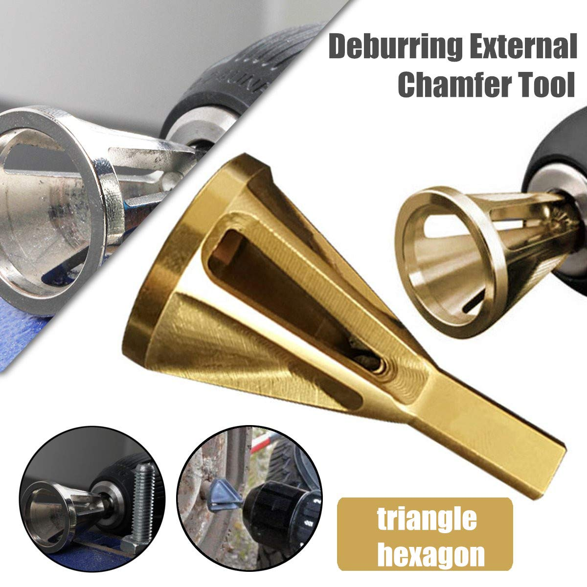 black//sliver//golden Deburring External Uniburr Chamfer Tool Stainless Steel Remove Burr Tools for Drill Bit Quickly Repairs Damaged Size 8-32 Bolts