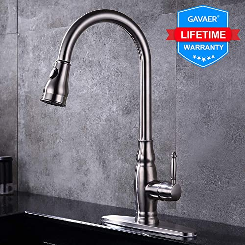 GAVAER Kitchen Sink Faucet Single Handle with Pull Down Sprayer,Brushed Nickel Lead Free Stainless Steel Kitchen Faucet with Deck Plate.