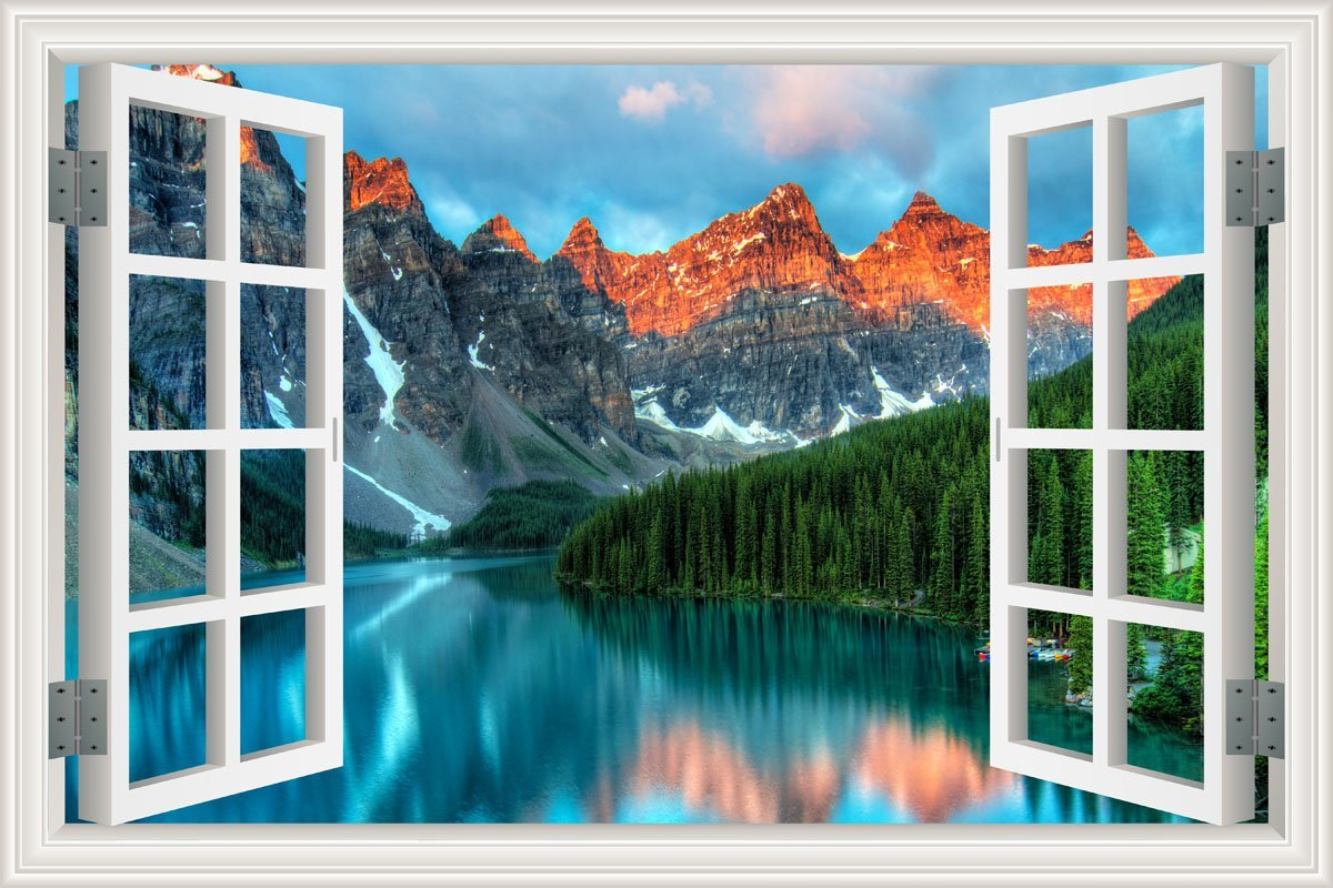 HLJ ART Removable 3D Windows Landscape Wall Mural Stickers Home Decor Prints Painting Artwork (Design-K, 36x24inch)