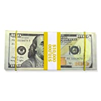 EXTREMELY REALISTIC Fake Money Aged Real Looking Movie Prop NEW STYLE $100's COPY - Stack of $10,000 - Includes Rubber Bands and Official $10,000 Bank Strap