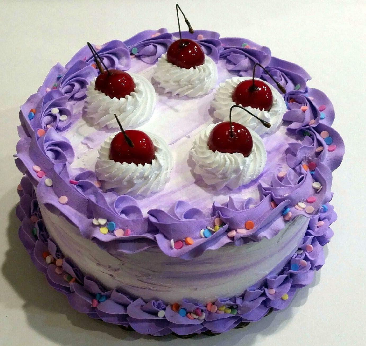 Incredible Amazon Com Dezicakes Large Fake Cake Purple White Birthday Personalised Birthday Cards Arneslily Jamesorg