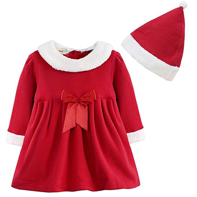 ZILucky Baby Mädchen Kleider Weihnachtskostüm Weihnachtskleid + Weihnachtsmütze Festliches Kleid