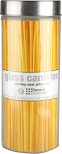 Home Basics X-Large 67oz. Round Glass Canister Jar Container Fresh Sealed with Air-Tight Stainless-Steel Twist Top Lid for Kitchen Pantry Food Storage Organization, Clear