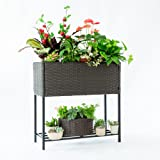 C-Hopetree Plant Stand Elevated Wicker Tired Herb Flower Planter Shelf for Indoor Outdoor Garden Patio, Brown