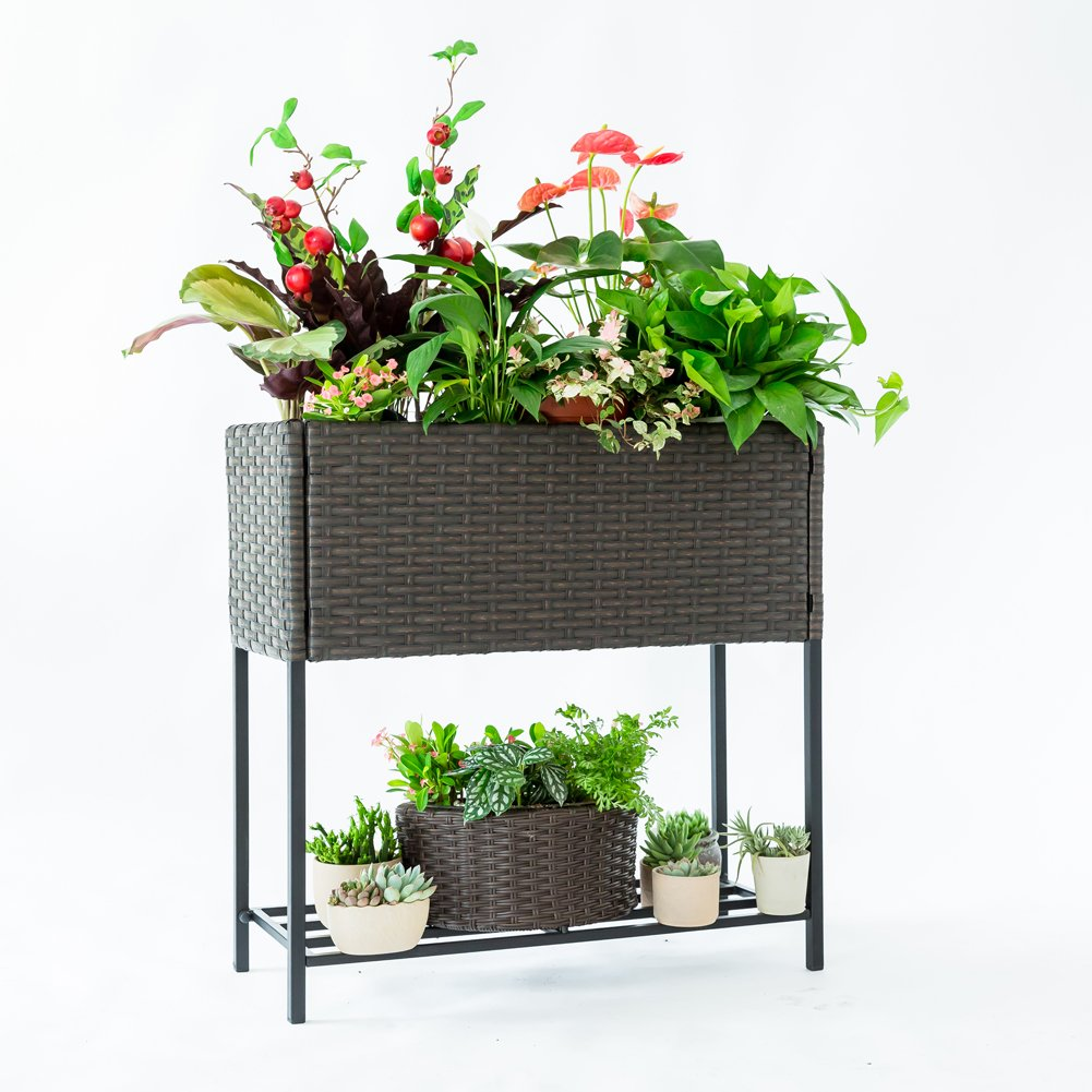 C-Hoptree Pot Plant Holder Stand Raised Succulent Herbs Flower Planter Shelf Patio Woven Flower Box by C-Hopetree
