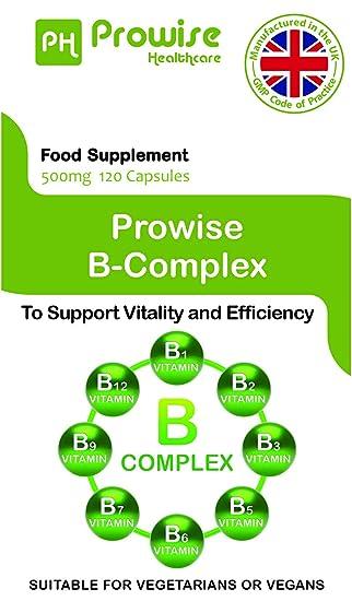 Complejo Prowise de la vitamina B - 120 cápsulas - Fabricado a la calidad garantizada GMP del Reino Unido - Apto para vegetarianos y veganos: Amazon.es: ...