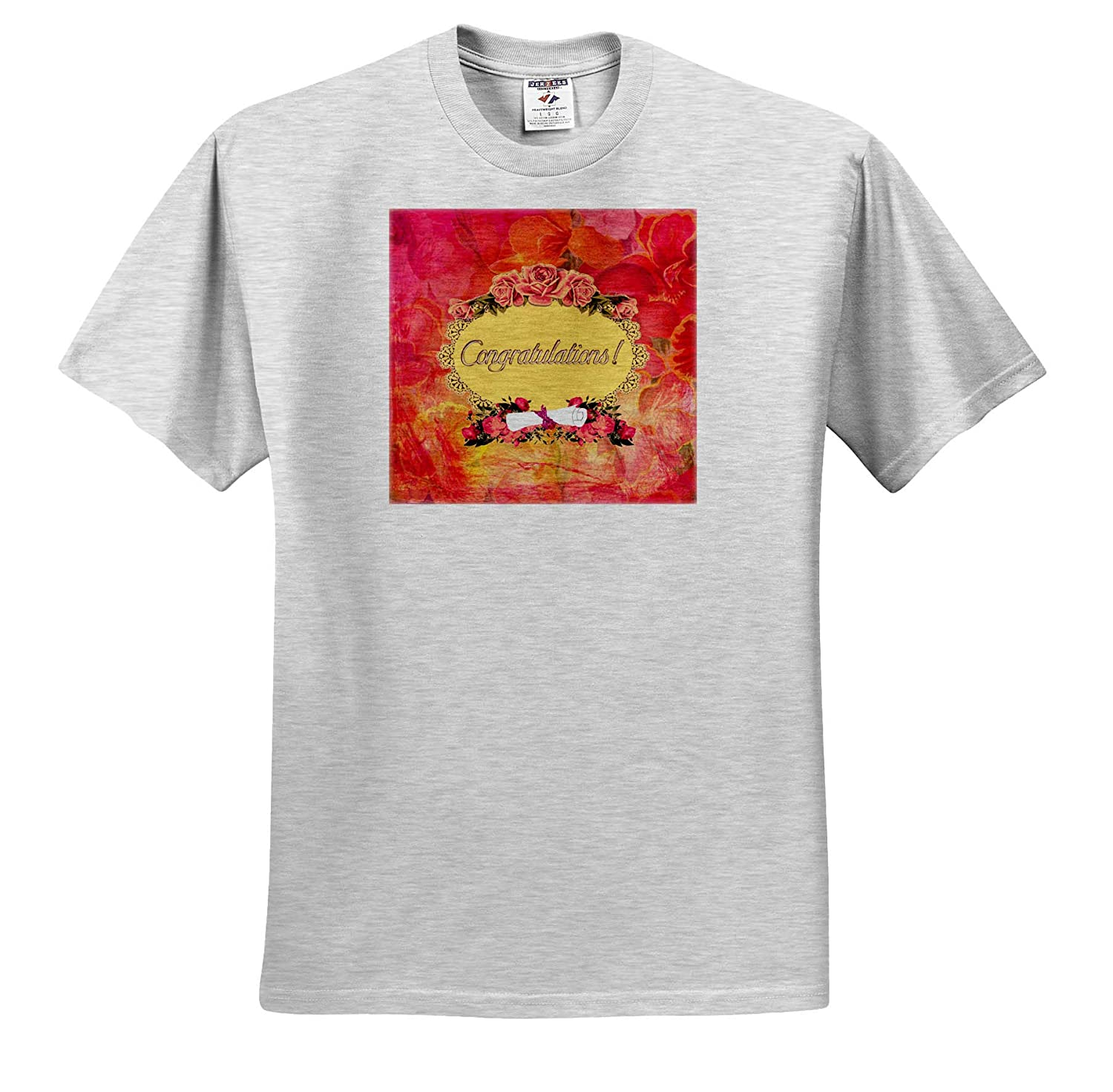 Flora Design Congratulations Oval Frame Flowers and Diploma 3dRose Beverly Turner Graduation Design T-Shirts