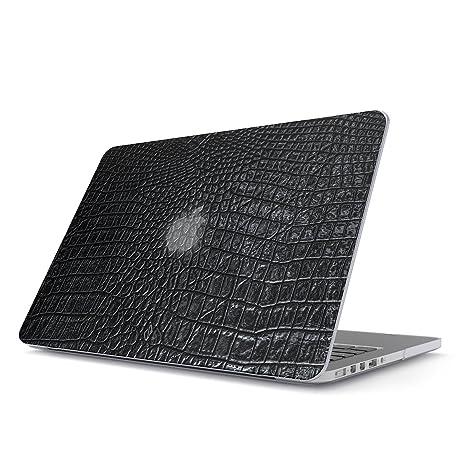 BURGA Funda para MacBook Pro 15 Pulgadas de 2012-2015, Modelo: A1398 con Retina Display Negra Cuero Piel Black Leather Skin Dura Carcasa Rígida