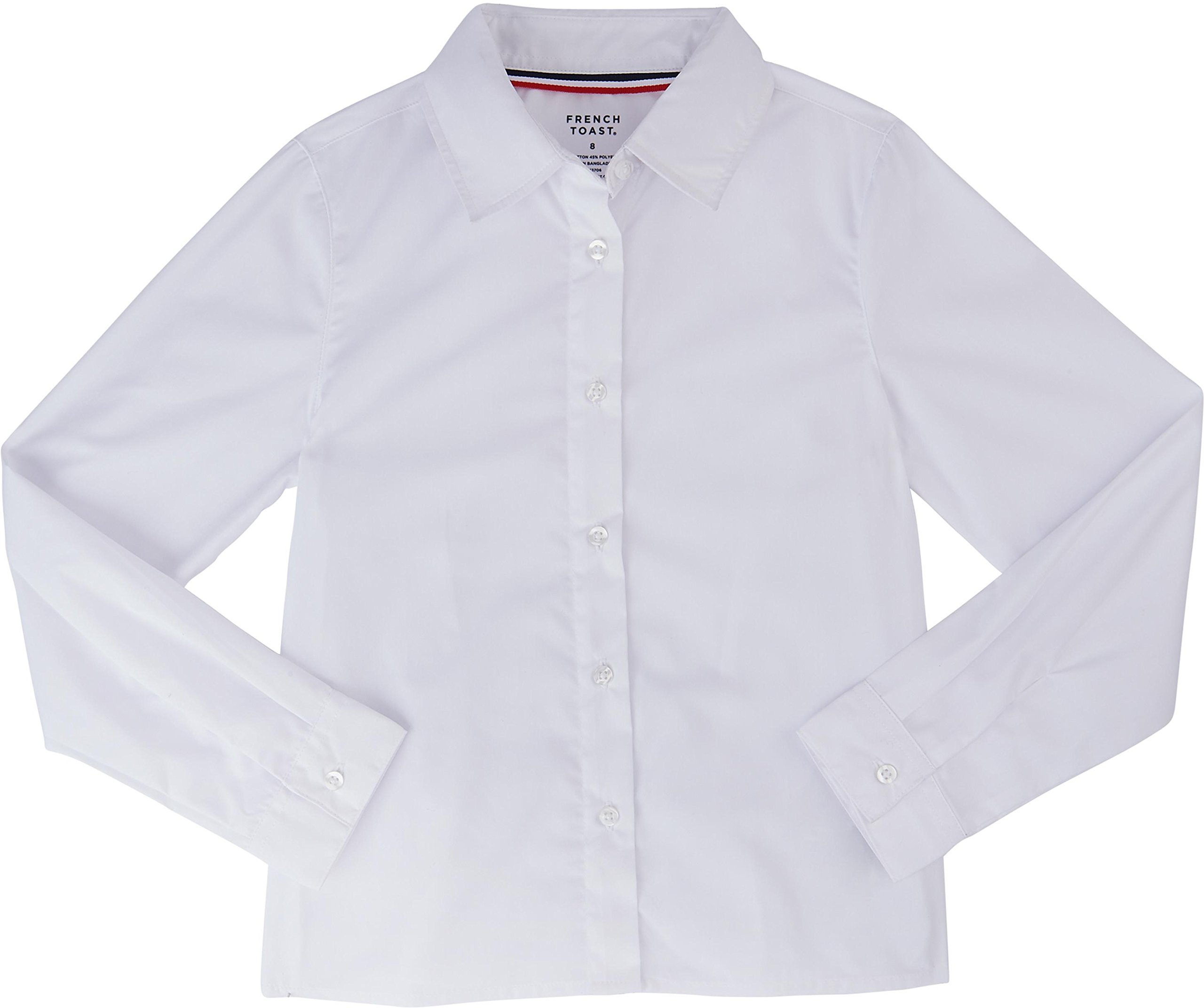 French Toast School Uniform Girls Long Sleeve Pointed Collar Blouse, White, 18