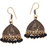 Jaipur Mart Rajasthani Traditional Brass and Non-Precious Metal Gold Oxidised Beaded Jhumki Earrings Women (Black, Queen, GSE599)