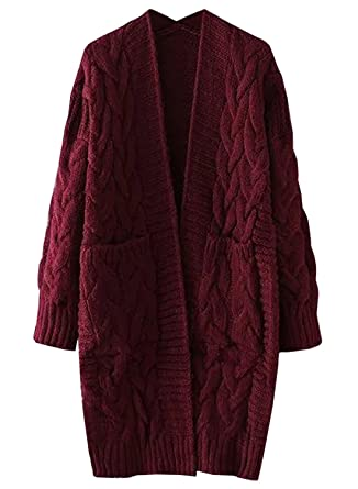 6adfe95ca1 Futurino Women s Twist Knitted Open Front Patch Pocket Long Cardigan  Oversized Coat