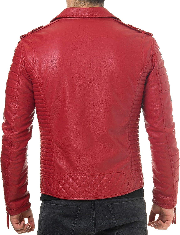 RedSeam Mens Genuine Lambskin Leather Motorcycle Slim Fit Biker Bomber Jacket RM120