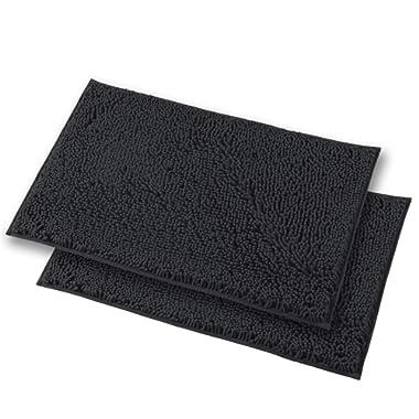 MAYSHINE Bath mats for Bathroom Rugs Non Slip Machine Washable Soft Microfiber 2 Pack (20×32 inches,Dark Gray)