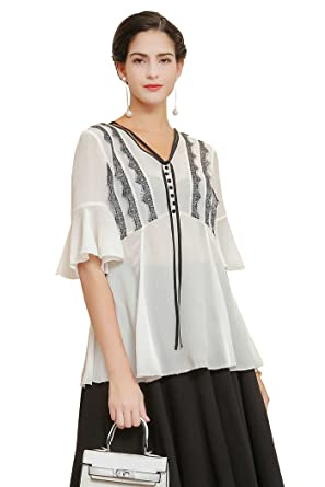 13ad935886e7d Image Unavailable. Image not available for. Color  VOA White Eyelash lace  black frilled Cuff Puff Sleeve silk Women Tee shirt BSA00701