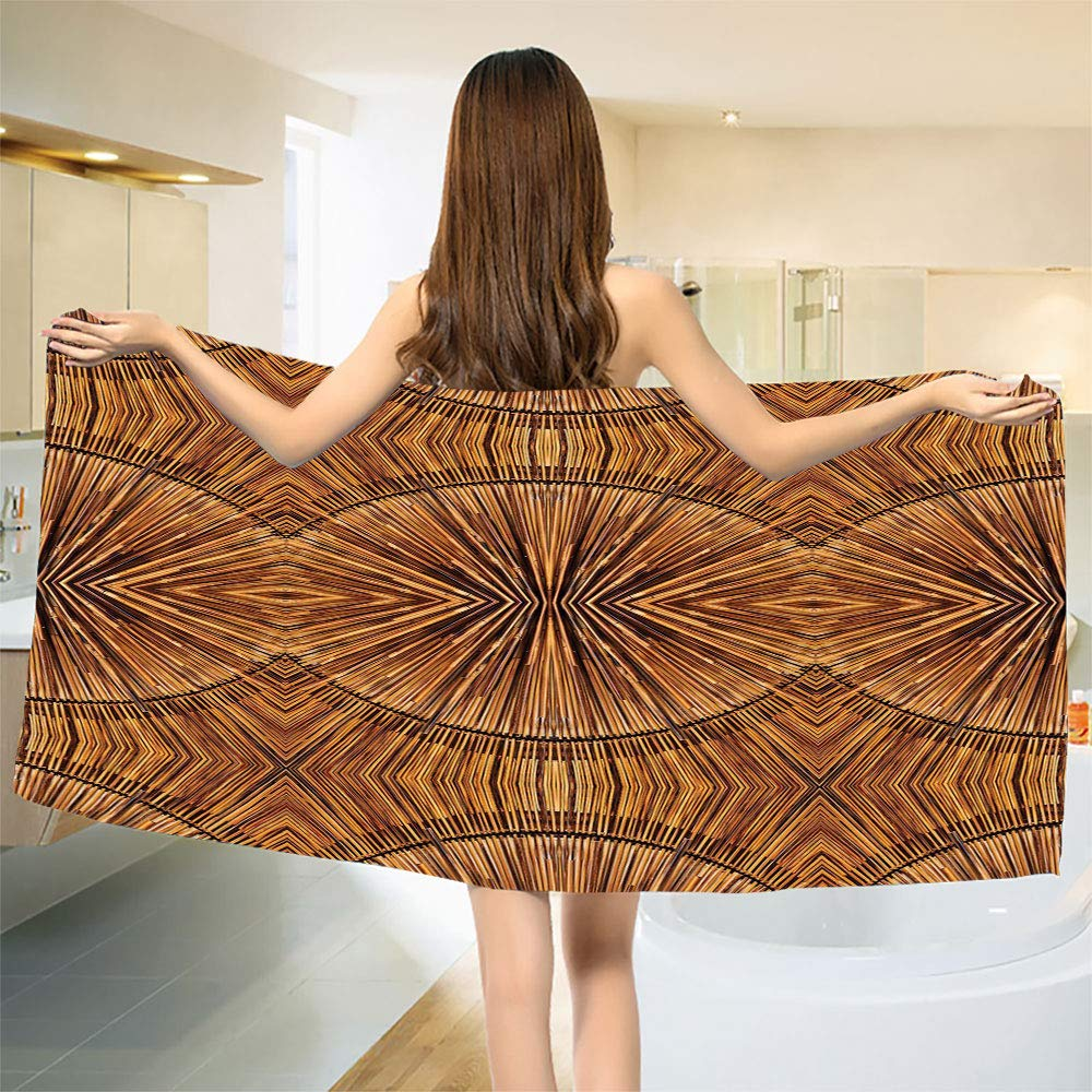 smallbeefly Tribal Bath Towel Boho Bamboo Pattern Primitive Eastern Ethnic Spiritual Jagged Wood Style Artistic Print Bathroom Towels Ginger Size: W 27.5'' x L 73''