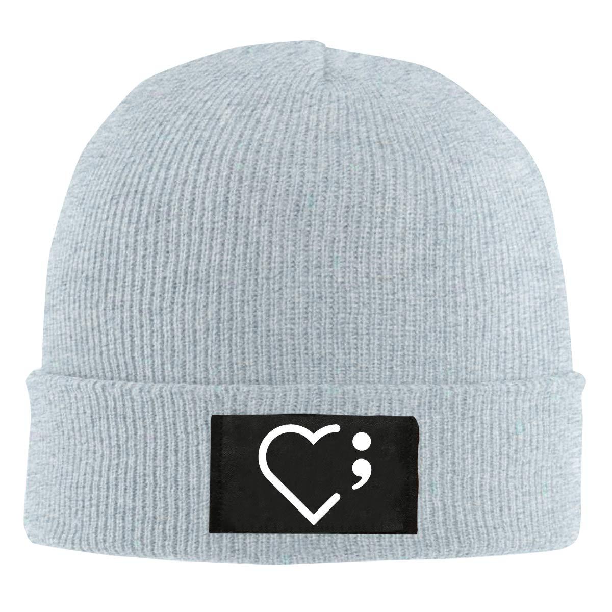 Heart Semicolon Suicide Prevention Awareness Unisex Warm Winter Hat Knit Beanie Skull Cap Cuff Beanie Hat Winter Hats