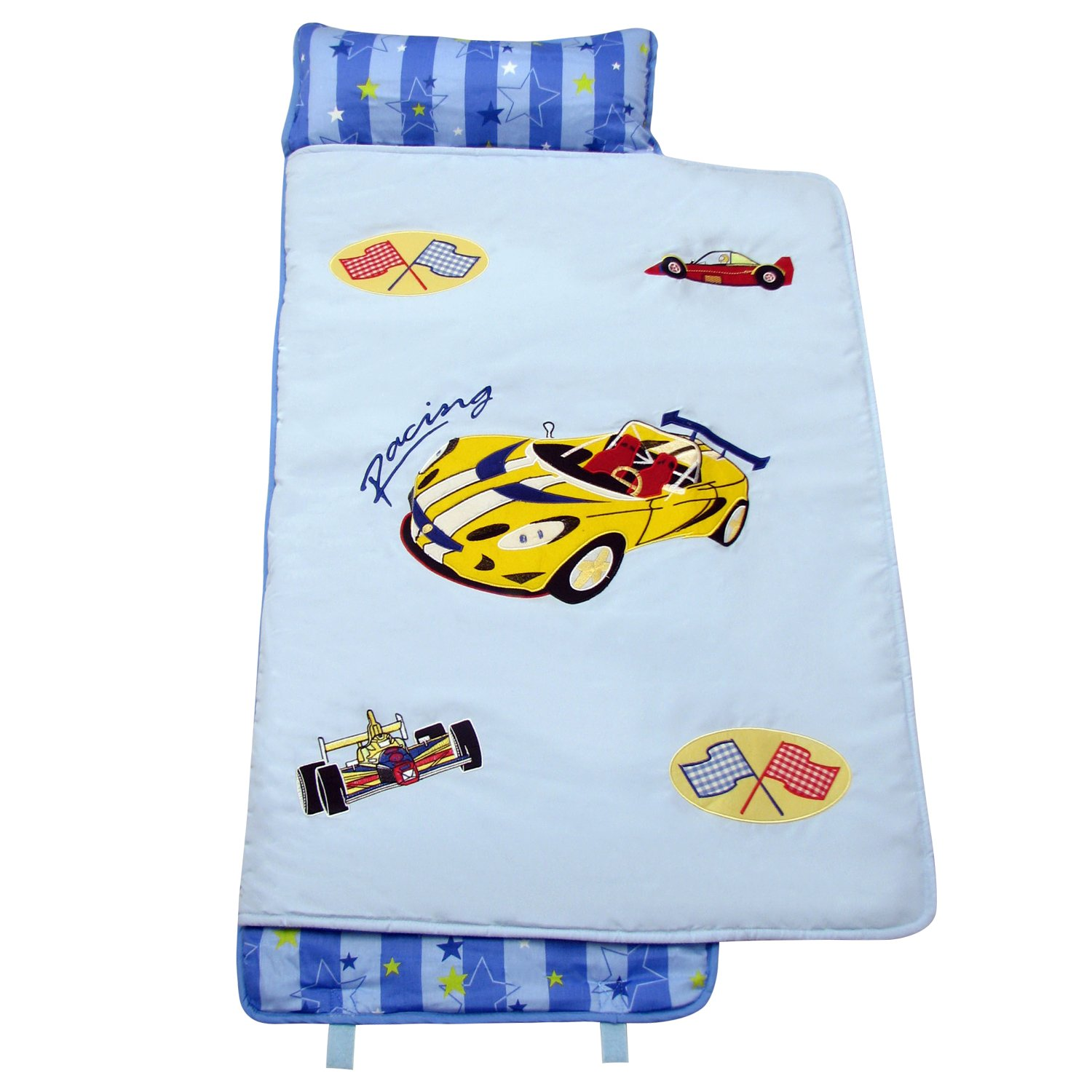 SoHo Zoom Race Car nap mat for toddler preschool day care with pillow lightweight rolled nap mats