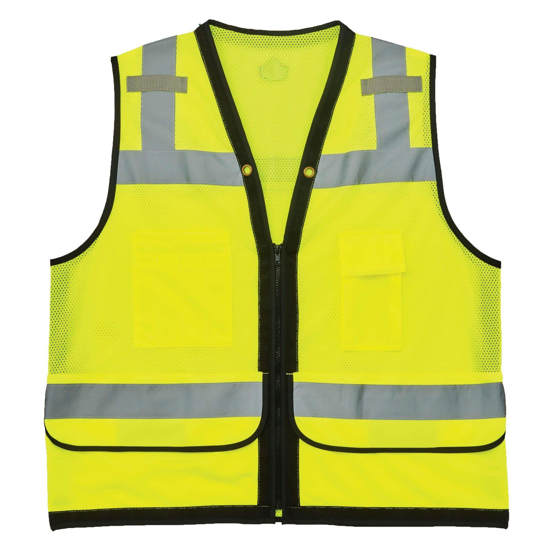 Ergodyne GloWear 8253HDZ ANSI High Visibility Heavy-Duty Mesh Surveyors Reflective Safety Vest, Lime, 4X-Large/5X-Large