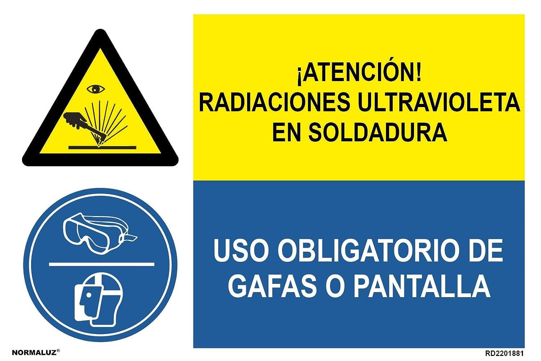 Normaluz FRD2261881 - Señal Combinada Homologada ¡Atención! Radiaciones Ultravioleta En Soldadura/Uso Obligatorio De Gafas o Pantalla Adhesivo De Vinilo ...