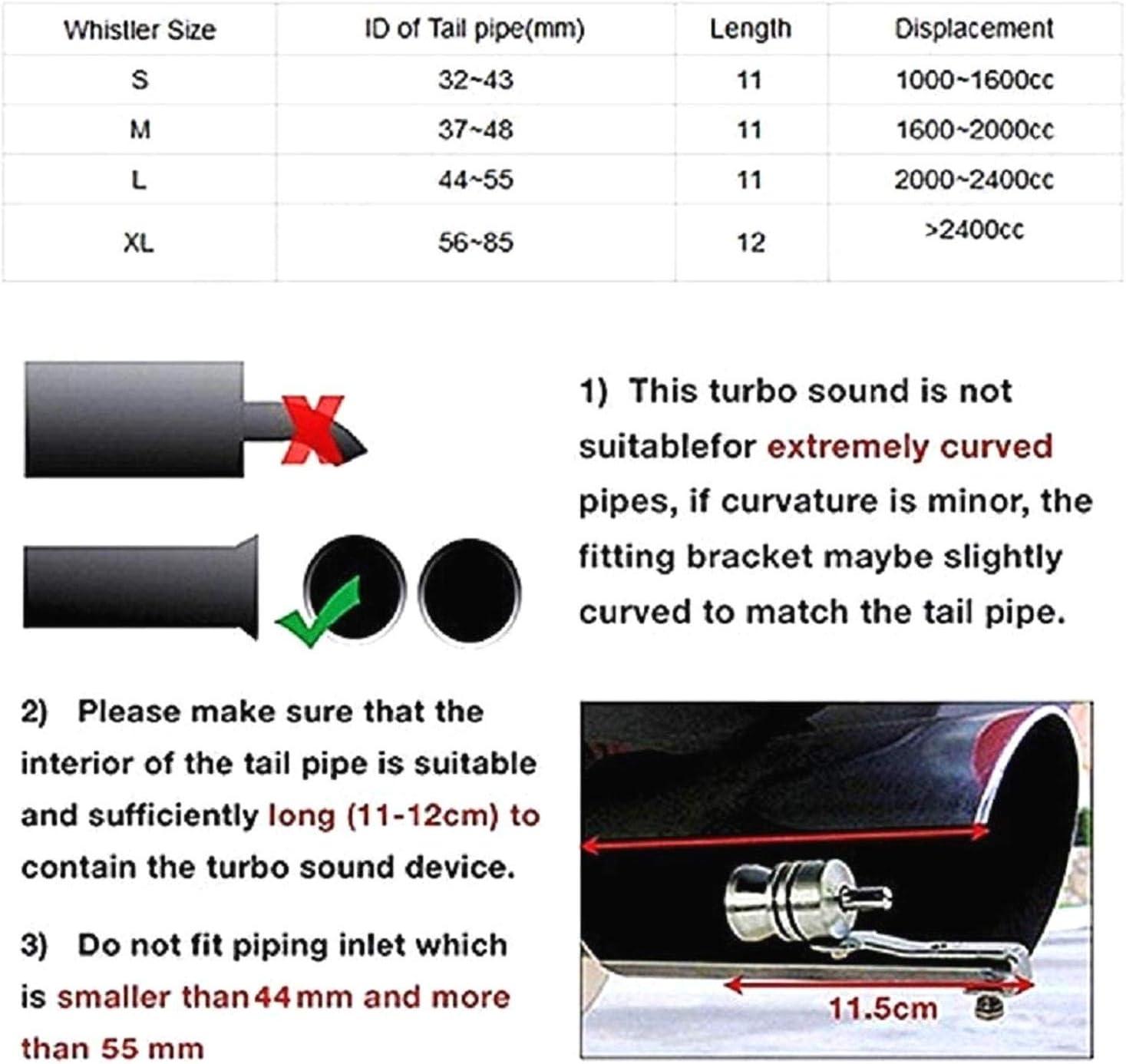 Nero//XL Fischio sonoro Turbo con valvola di Scarico Universale KOKO Zhu Fischietto per Tubo di Scarico per Moto Auto